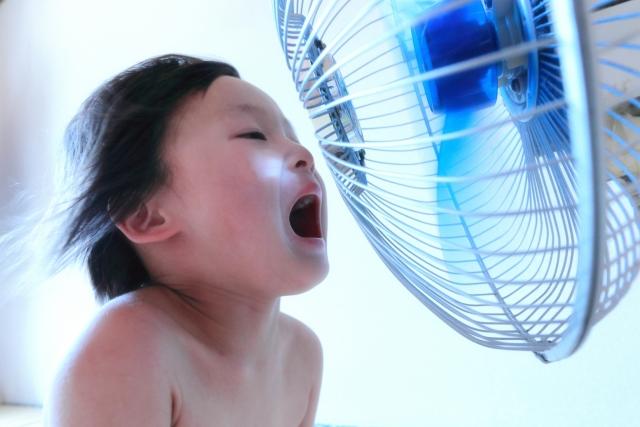 子供と扇風機