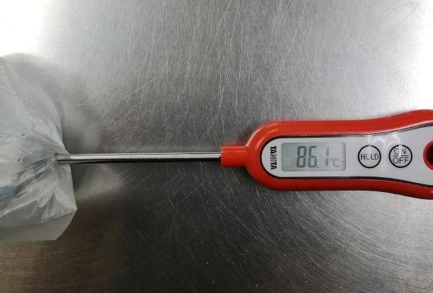 加熱後のおしぼりの温度86℃